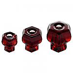 Ruby Red Glass Hexagonal Knobs