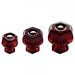 Ruby Red Glass Hexagonal Knobs