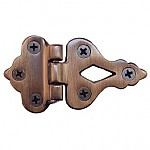 Antiqued Cast Brass Offset Ice Box Hinge