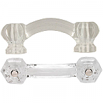 Hexagonal Clear Glass Bridge Drawer Pull