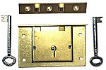 Large Brass Chest Lock with Skeleton Key