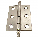 Brushed Nickel Butt Hinge Pair with Finials