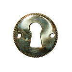 Plain Round Stamped Brass Keyhole Escutcheon