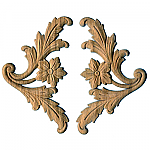 Floral Leaf Upsweep Corner Paired Appliques