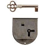 Long Rounded Half Mortise Lock & Skeleton Key