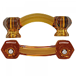Hexagonal Honey Amber Glass Bridge Drawer Pull