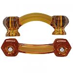 Hexagonal Honey Amber Glass Bridge Drawer Pull