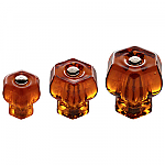 Honey Amber Glass Hexagonal Knobs