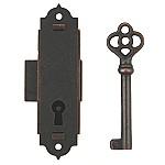 Antiqued Narrow Door or Case Lock