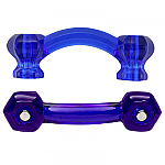 Hexagonal Cobalt Blue Glass Bridge Drawer Pull