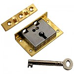 Medium Brass Half Mortise Chest Lock with Skeleton Key