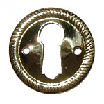 Round Rope Pattern Stamped Brass Keyhole Escutcheon