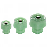Jadeite Green Milk Glass Hexagonal Knobs