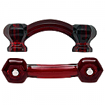 Hexagonal Ruby Red Glass Bridge Drawer Pull
