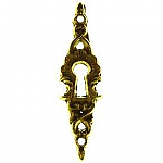Vertical Cast Brass Keyhole Escutcheon