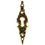 Vertical Cast Brass Keyhole Escutcheon