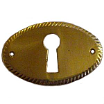 Plain Stamped Horizontal Brass Keyhole Escutcheon