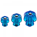 Peacock Blue Glass Hexagonal Knobs