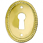 Vertical Stamped Oval Brass Keyhole Cover
