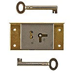 Left Brass Half Mortise Lock with Skeleton Keys