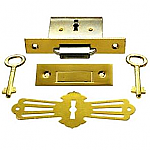 Brass Square Roll Top Desk Lock & Skeleton Keys